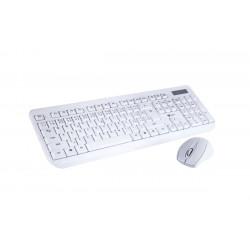 Klávesnice C-TECH WLKMC-01, bezdrátový combo set s myší, bílý, USB, CZ / SK