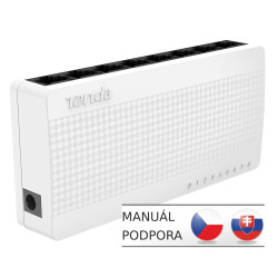 Tenda S108 8 x 10 / 100 Mb / s Mini Eco Switch, Desktop, Auto MDI / MDIX, spotřeba do 2,1 Watt