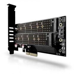 AXAGON PCEM2-D, PCIe x4 - M.2 NVMe M-key + SATA B-key slot adaptér, vč. LP