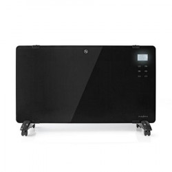Nedis HTPL20FBK - Konvekční Ohřívač se Skleněným Panelem | Termostat | LCD Displej | 2 Nastavení Teploty | Stojící Montáž na stě