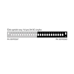 Solarix Čelo optické vany 1U pro 24SC simplex LC duplex E2000 RAL7035 s montážními otvory v2 FP2-1U-24SCS-G