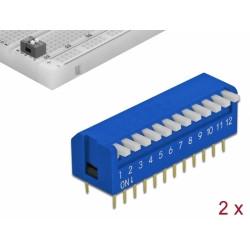Delock Přepínač DIP, klavírní, 12-číslicový, rozchod 2,54 mm, THT vertikální, modrý, 2 ks