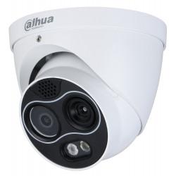 DAHUA termální duální IP kamera termo 256x192 f=3,5mm(51st) vizuál 4Mpix 4mm(71st) IR30m dome detekce ohně