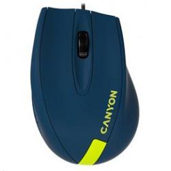 CANYON myš drátová M-11, 3 tlacítka, 1000dpi, pogumovaný povrch, modrá - žluté logo