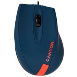 CANYON myš drátová M-11, 3 tlacítka, 1000dpi, pogumovaný povrch, modrá - cervené logo
