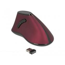 Delock - Vertikální myš - ergonomický - pravák - optický - 5 tlačítka - bezdrátový - 2.4 GHz - bezdrátový přijímač USB - černá červená - maloobchod