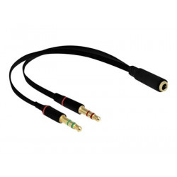 Delock - Adaptér na sluchátka - 4 pólový mini jack se zdířkami (female) do stereo mini jack s piny (male) - 20 cm - černá