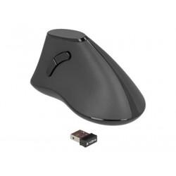 Delock Ergonomic - Vertikální myš - ergonomický - pravák - optický - 5 tlačítka - bezdrátový - 2.4 GHz - bezdrátový přijímač USB - černá - maloobchod