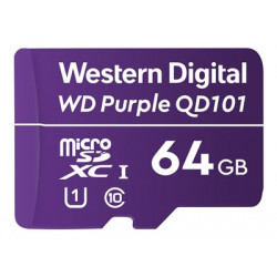 WD Purple SC QD101 WDD064G1P0C - Paměťová karta flash - 64 GB - UHS-I U1 / Class10 - microSDXC UHS-I - purpurová