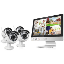 """iGET HomeGuard HGNVK49004 - bezdrátový WiFi NVR s LCD 12"""" + 4x venkovní WiFi HD kamera 960p"""
