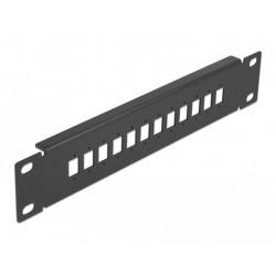 """Delock 10"""" patch panel pro optická vlákna, 12 portů, pro SC Simplex LC Duplex, 1U, černý"""