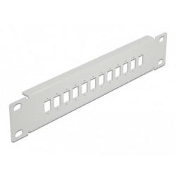 """Delock 10"""" patch panel pro optická vlákna, 12 portů, pro SC Simplex LC Duplex, 1U, šedý"""