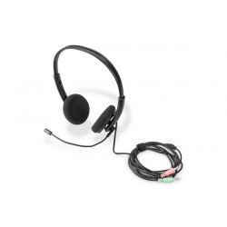 DIGITUS kancelářská náhlavní souprava na uši s redukcí šumu, 3,5 mm Stereo
