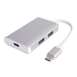 PremiumCord USB3.1 hub 2x USB3.0 + PD charge, hliníkové stříbrné pouzdro