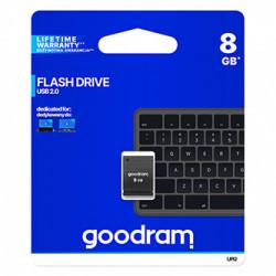 Goodram USB flash disk, USB 2.0, 8GB, UPI2, černý, UPI2-0080K0R11, USB A, s krytkou