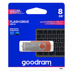 Goodram USB flash disk, USB 3.0 (3.2 Gen 1), 8GB, UTS3, červený, UTS3-0080R0R11, USB A, s otočnou krytkou