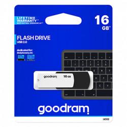 Goodram USB flash disk, USB 2.0, 16GB, UCO2, černý, UCO2-0160KWR11, USB A, s otočnou krytkou