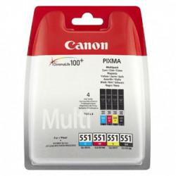 Canon CLI-551 multipack (CMYK) + PP-201 fotopapír 50x, foto papír, výtěžnost 4x7ml typ lesklý, bílý, 10x15cm, 4x6, 50 ks, 6508B00