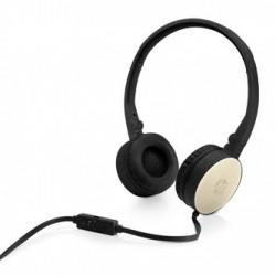 HP H2800, sluchátka s mikrofonem, ovládání hlasitosti, černo-zlatá, klasická typ 3.5 mm jack