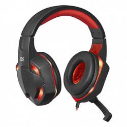 Defender Warhead G-370, herní sluchátka s mikrofonem, ovládání hlasitosti, černo-červená, 2.0, 2x 3.5 mm jack + USB