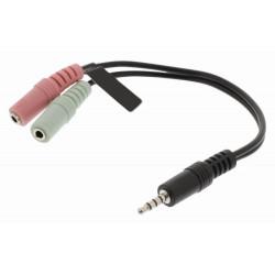 NEDIS redukce pro headsety zástrčka 3,5mm jack - 2x zásuvka 3,5 mm jack černá 20cm