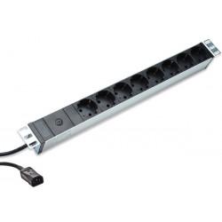 DIGITUS 1U hliníkové PDU, do racku, 10A zástrčka, 250V 50 60Hz, 8x zásuvky, IEC C14 zástrčka, pojistka