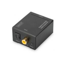 Digitus Převod z digitálního na analogový s kovovým pouzdrem Coaxial Toslink na BNC (Cinch), napájení 5V 1A