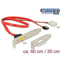Delock Záslepka SATA 6 Gb s 7 pin samice + Molex 2 pin napájení samec interní > SATA samec s pin 8 napájení externí