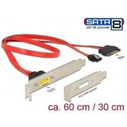 Delock Záslepka SATA 6 Gb s 7 pin samice + SATA 15 pin napájení samec interní > SATA samec s pin 8 napájení externí
