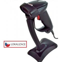Laserová čtečka Virtuos HT-900A, USB (klávesnice RS-232 emulace), stojánek, černá