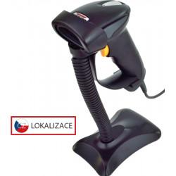 CCD čtečka Virtuos HT-310A, dlouhý dosah, USB (klávesnice RS-232 emulace), stojánek, černá