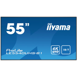 "55"" iiyama LE5540UHS-B1 - AMVA3,4K UHD,8ms,350cd / m2, 4000:1,16:9,VGA,HDMI,DVI,USB,RS232,RJ45,repro"