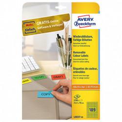 Avery Zweckform etikety 25.4mm x 10mm, A4, žluté, 189 etiket, mini, snímatelné, baleno po 20 ks, pro inkoustové a laserové tiskárn