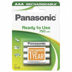 Přednabité baterie, AAA, 1.2V, 750 mAh, Panasonic, blistr, 4-pack